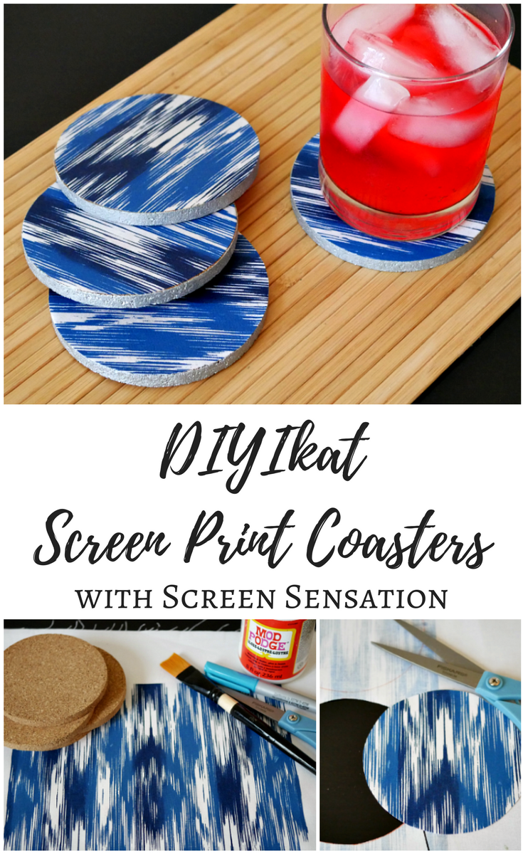 Ikat Screen Print Coasters with Screen Sensation