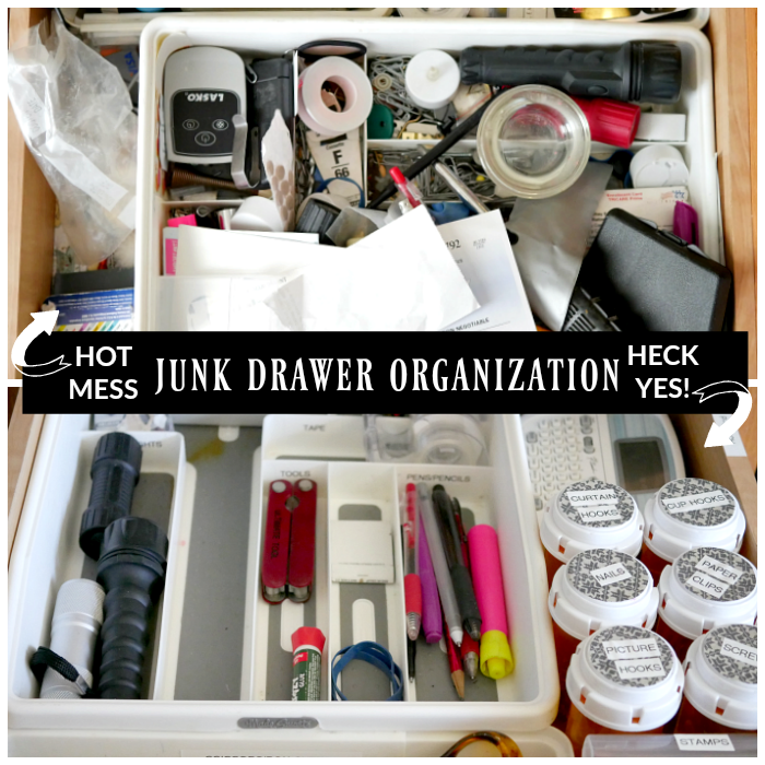 Junk Drawer Organization - before and after