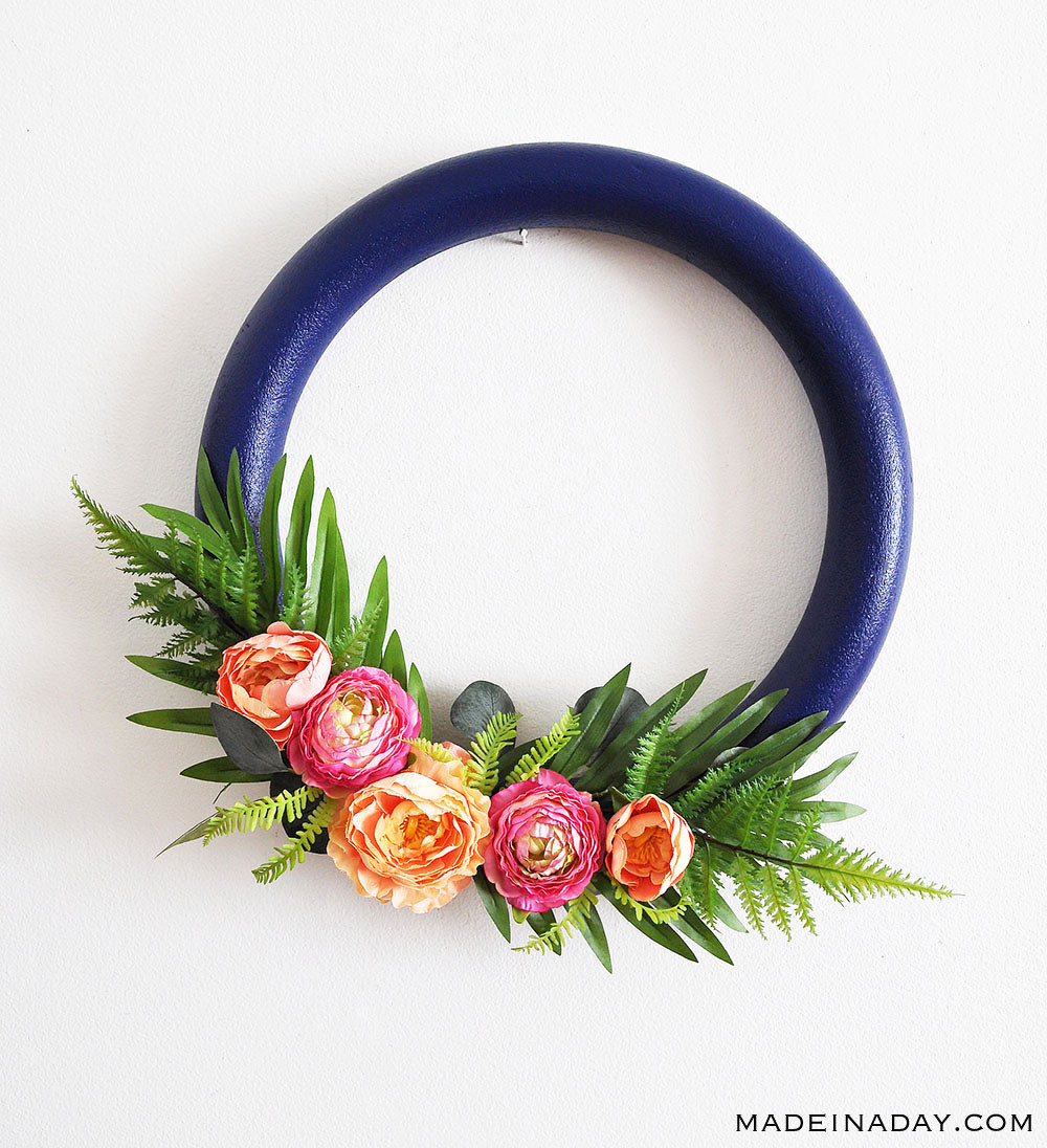 Navy and Pink Tropical Spring Wreath