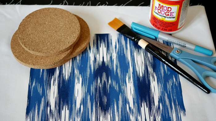 Ikat screen print coasters supplies