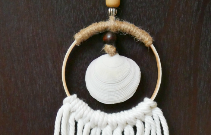 Mini hoop sea shell wall hanging