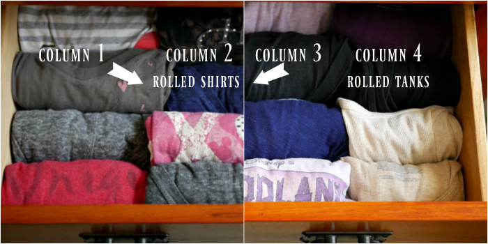 Rolled shirts and tanks in dresser drawer