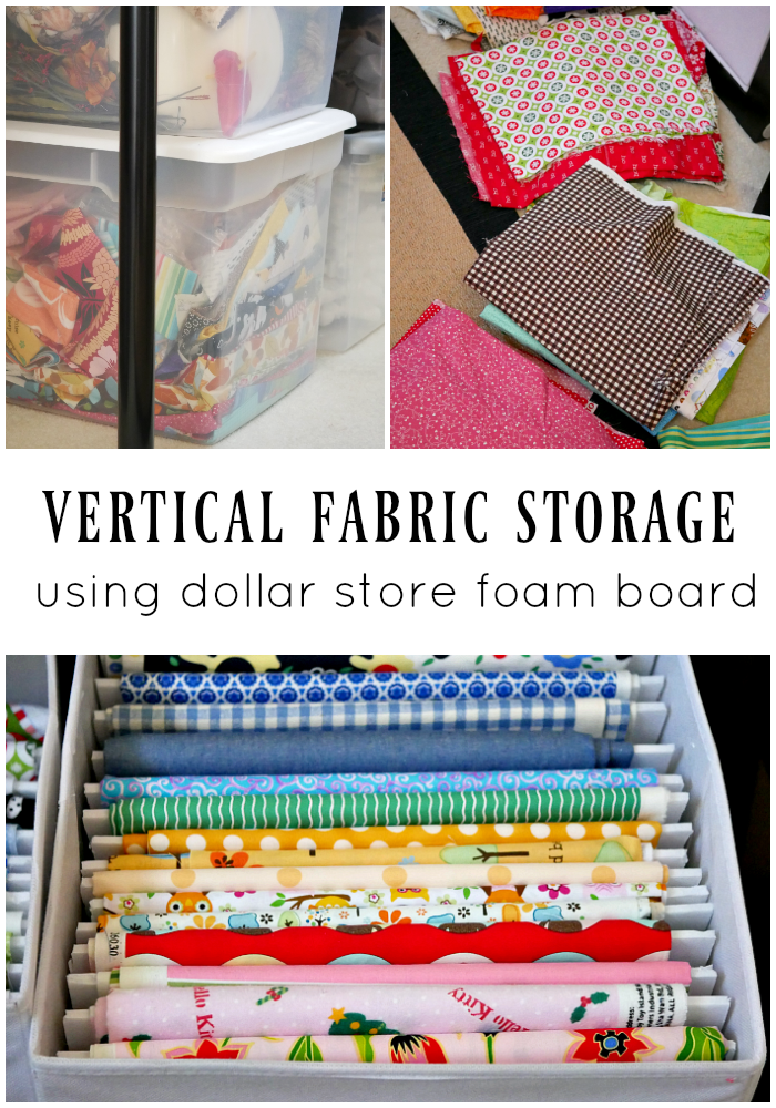 Vertical fabric storage using foam board