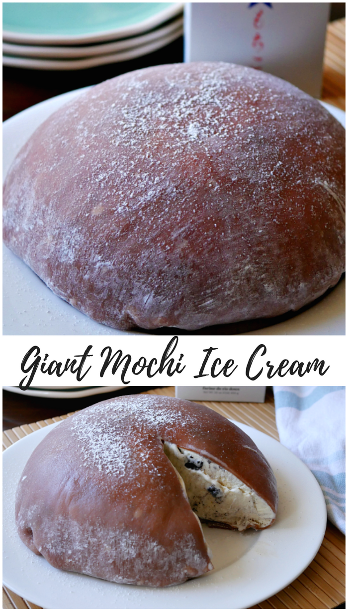How to make a giant mochi ice cream for a fun cool summer dessert. #mochi #mochiicecream #icecream #dessert #summerdessert #Japanesedessert