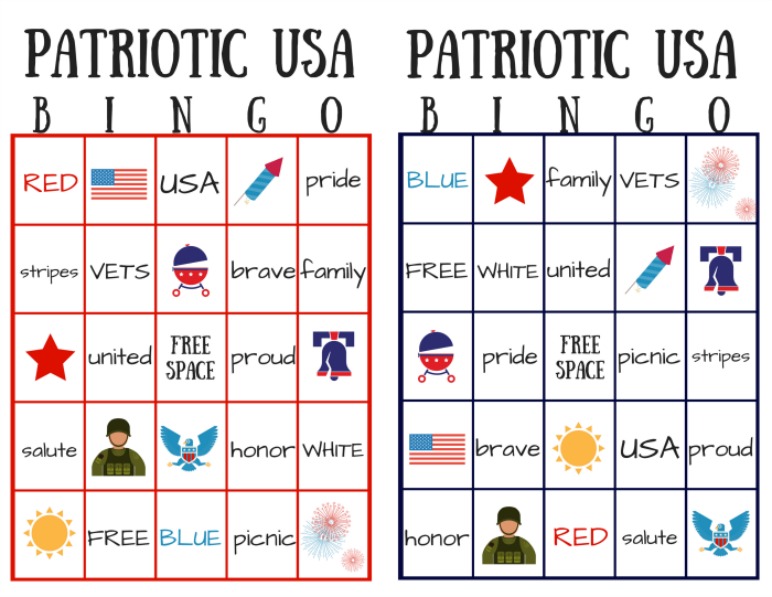 Patriotic USA Bingo Card Sample of printable