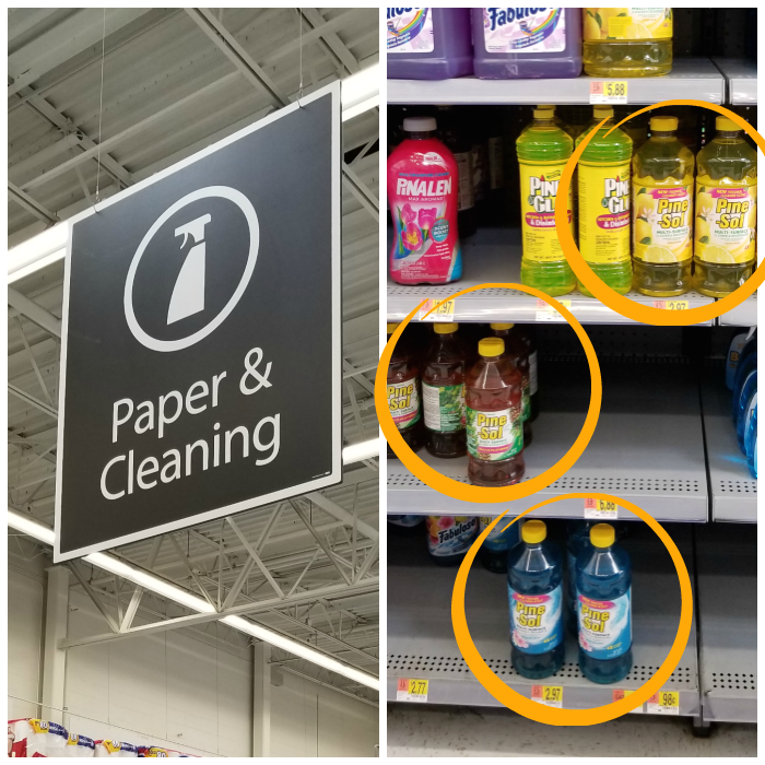 PineSol on Walmart shelves in Paper & Cleaning aisle