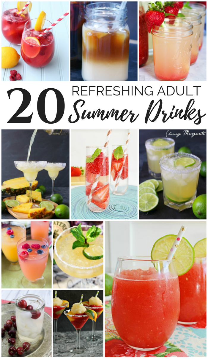 20 Refreshing Adult Summer Drinks - margarita, mimosa, sangria, cold brew coffee, lemonades, and more adult drink recipes to help you stay cool during the summer heat.