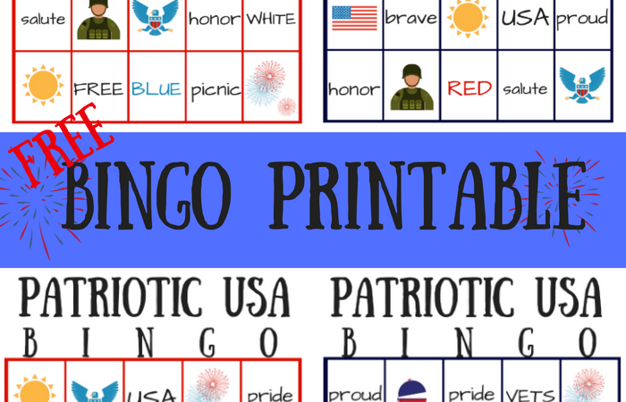 FREE Patriotic USA Bingo Printable – Summer Game