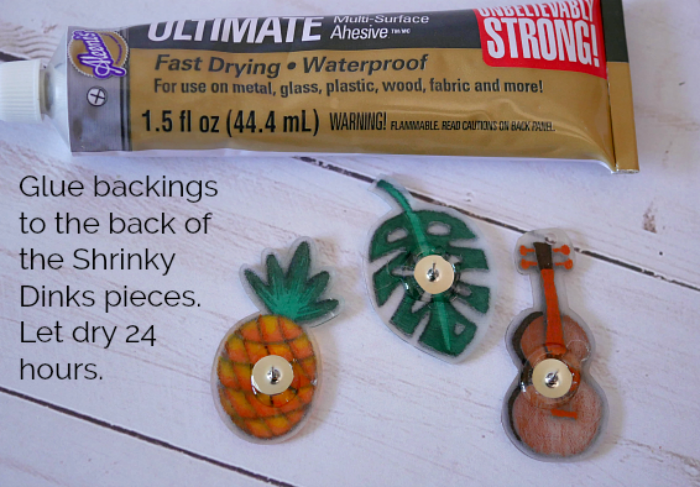 Glue backings to the tropical shirnky dinks