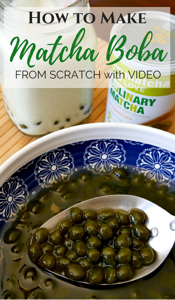 How to make Matcha Boba Balls with Video. You just need tapioca starch, Matcha powder, sugar and water!