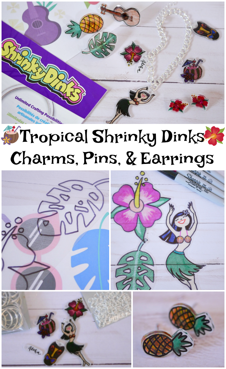 How to make Tropical Shrinky Dinks Charms and Pins