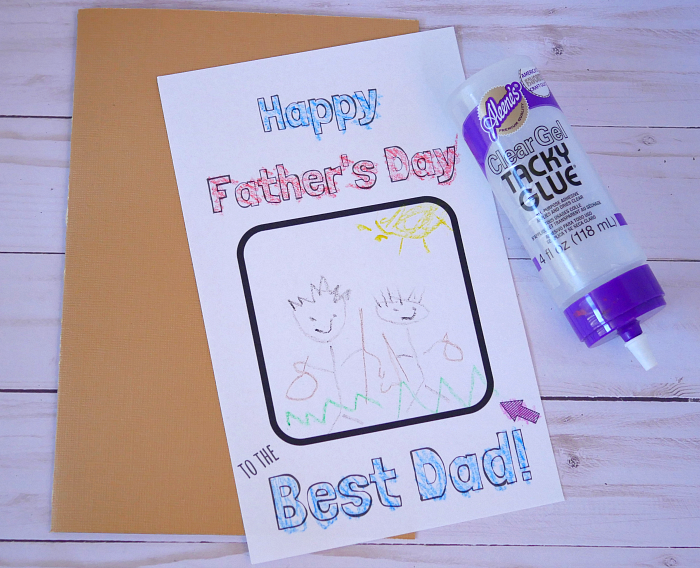 Colored and cut DIY Father's Day coloring card