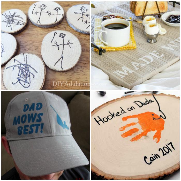 DIY Fatheru0027s Day Gift Ideas - dad hat handprint craft kid art coasters & Sentimental DIY Fatheru0027s Day Gift Ideas - Merry Monday Link Party #208