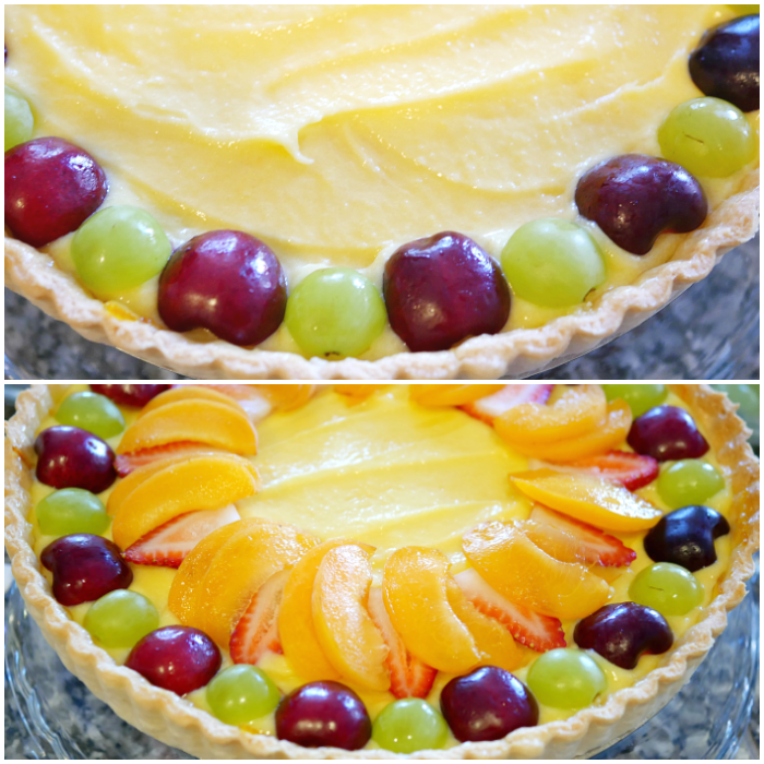 Decorating the fresh fruit tart with sliced fruit