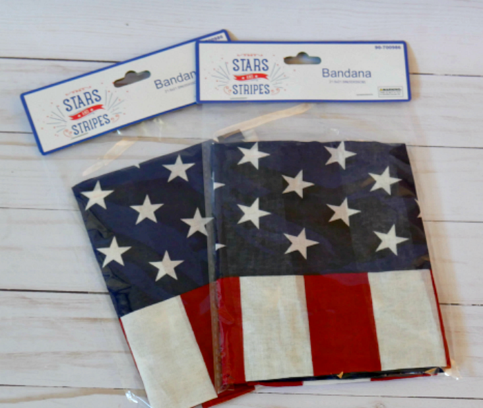 Two patriotic flag bandana squares from the 99 Cents Only Store
