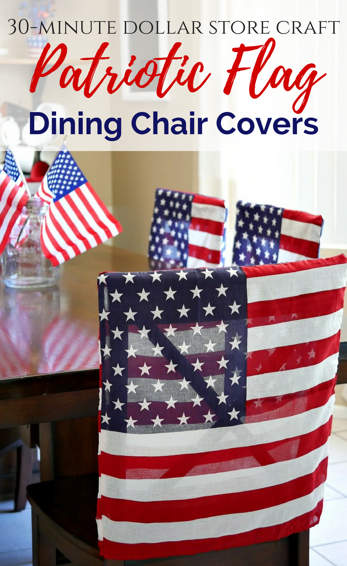 "Patriotic flag dining chair covers made in 30 minutes using 21"" x 21"" flag bandana squares."