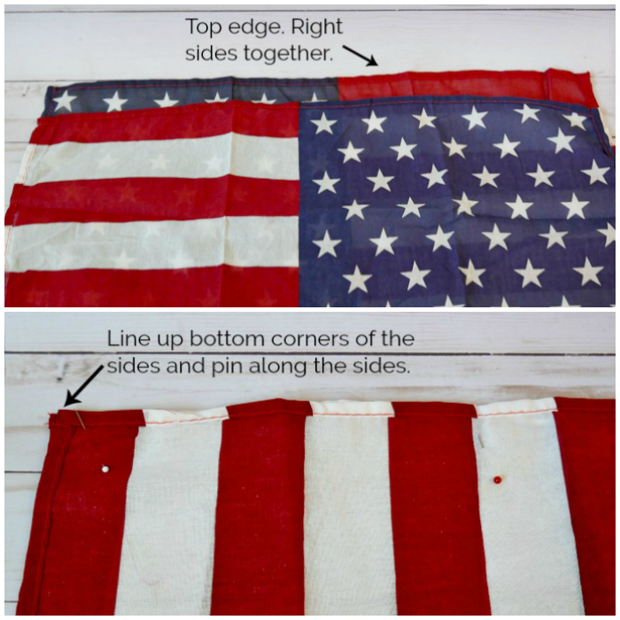 Patriotic flag squares pinned together