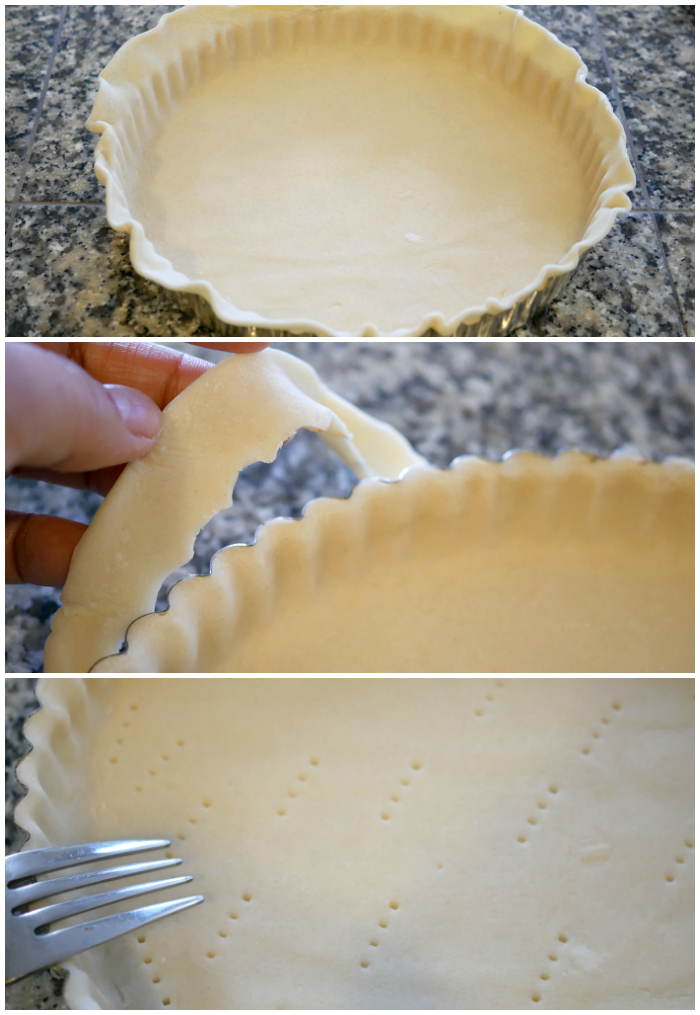 Preparing pie crust for the fresh fruit tart