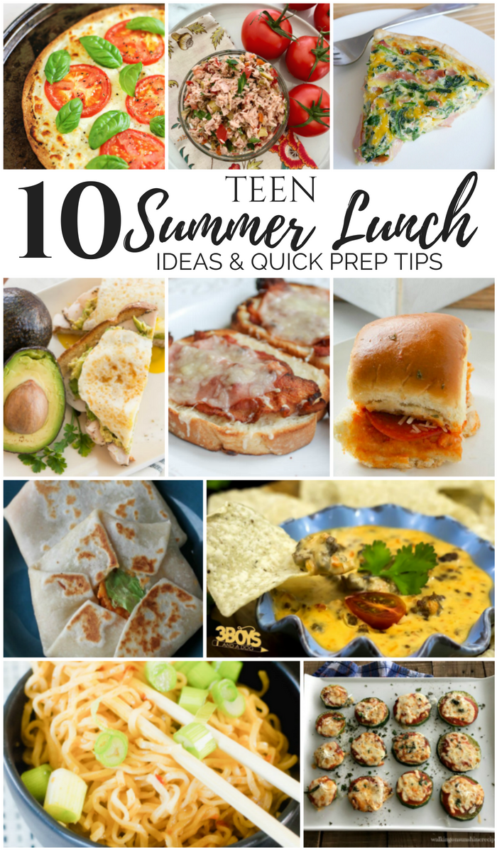 Teen summer lunch ideas - sandwiches, noodles, wraps, and more.