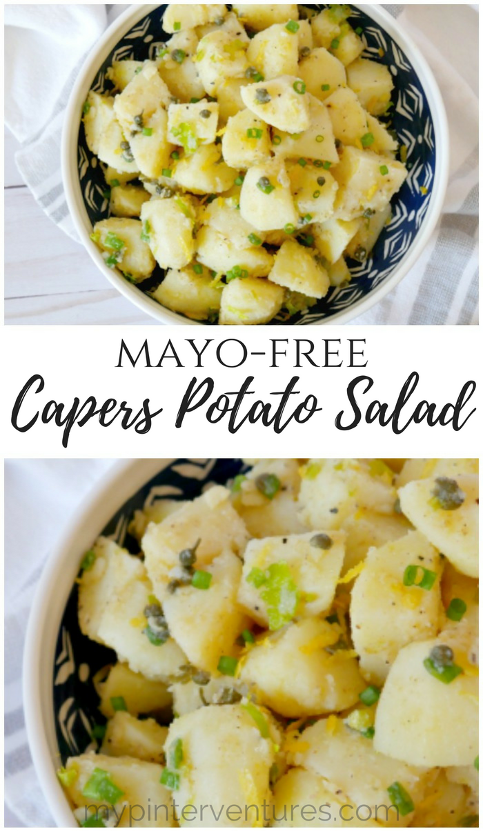 Mayo-free capers potato salad with a light and fresh dressing