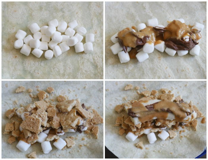 Nutella peanut butter banana s'more burritos filling