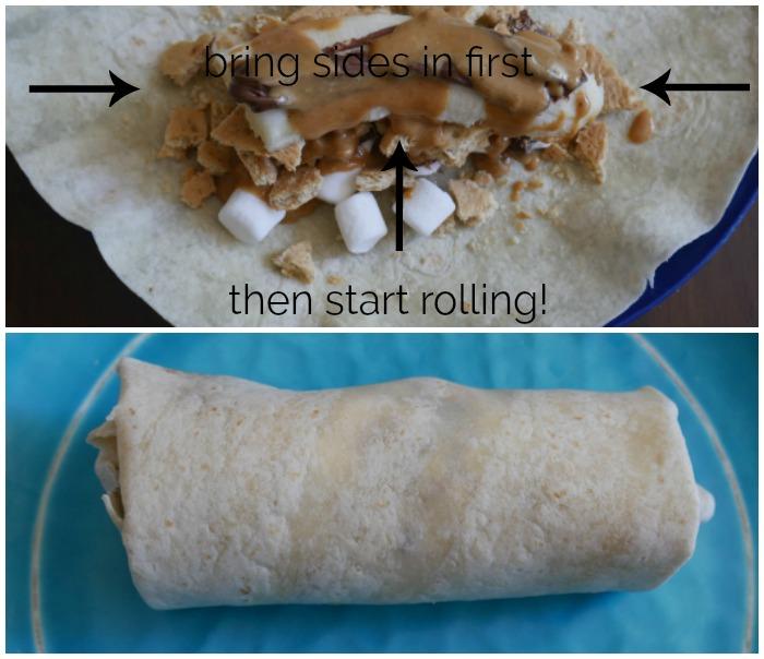 rolling the s'more burritos