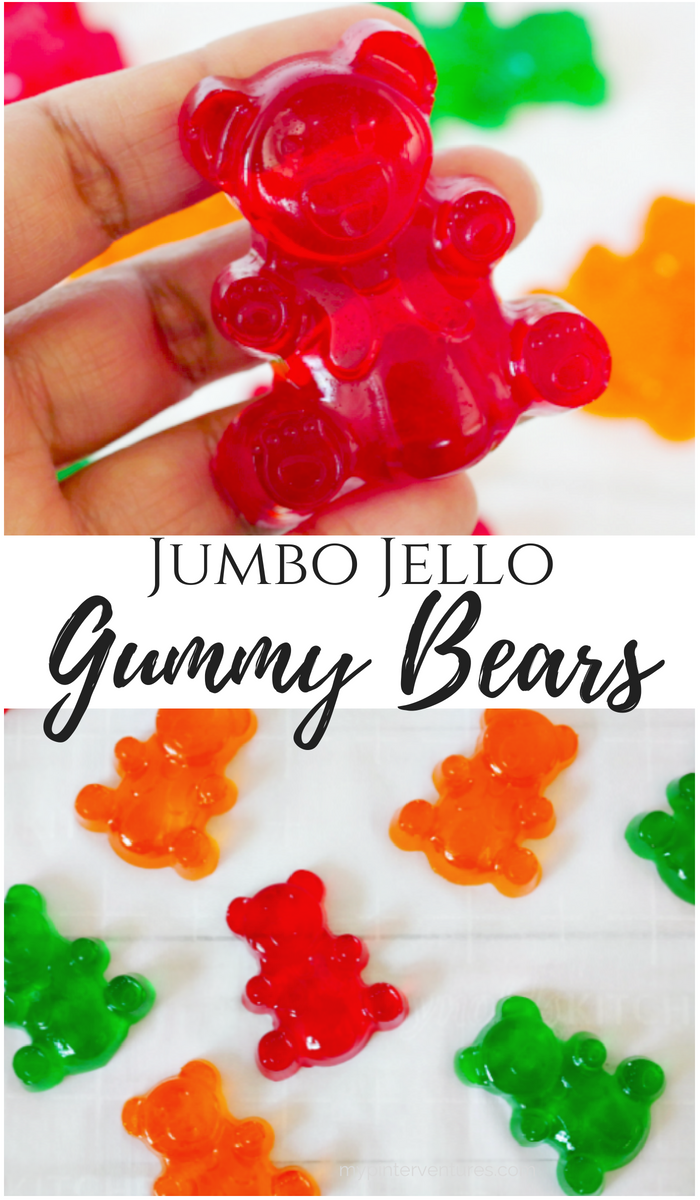 How to make Jumbo Jello Gummy Bears with only 3-ingredients. #gummybears #jello #snacks