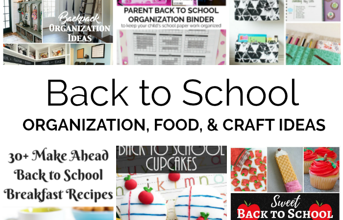 Back to school organization, food, and crafts slider