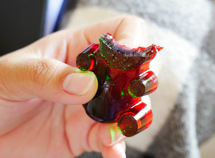 Head of jumbo jello gummy bear eaten