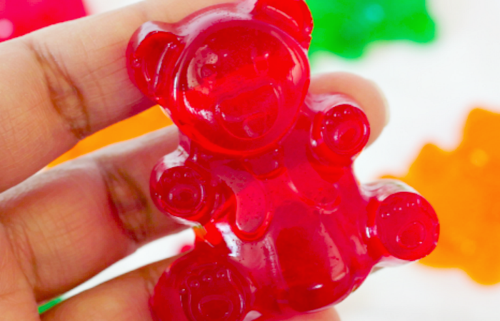 Jumbo Jello Gummy Bears - easy homemade gummy bears made with Jello and Jumbo silicone molds.