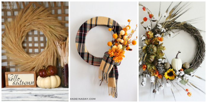 Simple DIY Fall Home Decorations- three fall wreaths