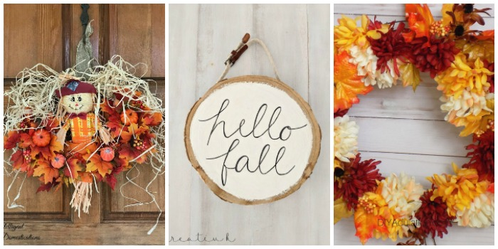 Simple DIY Fall Home Decorations - three wreaths