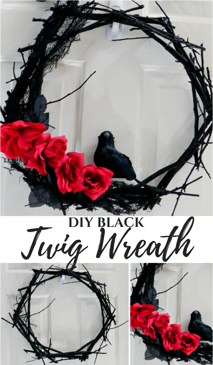 DIY Black Twig Wreath for Halloween