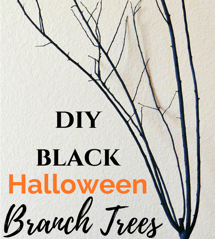 DIY Black Halloween Branch Trees slider