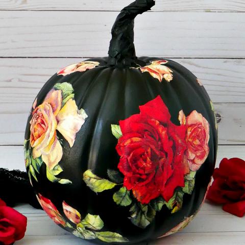 DIY Black Rose Pumpkin