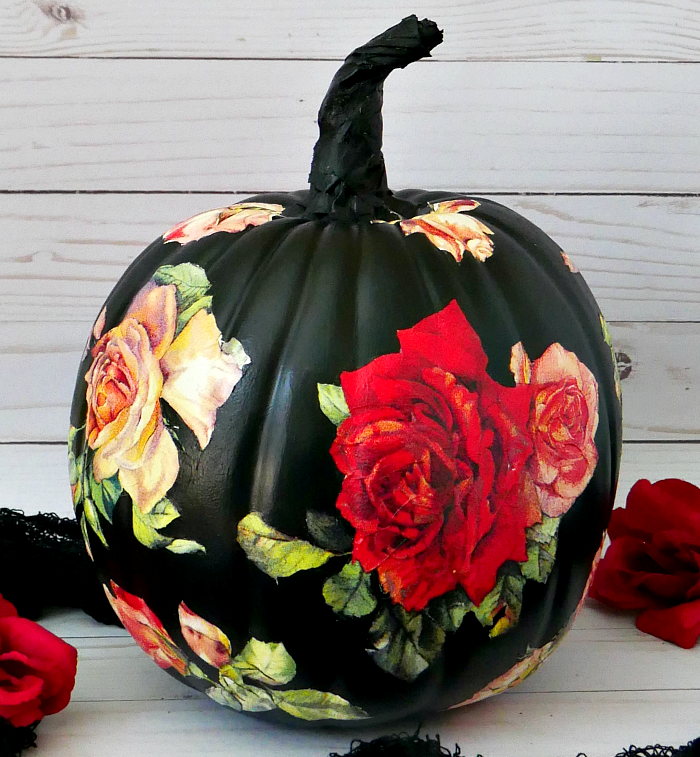 DIY Black Rose Pumpkin