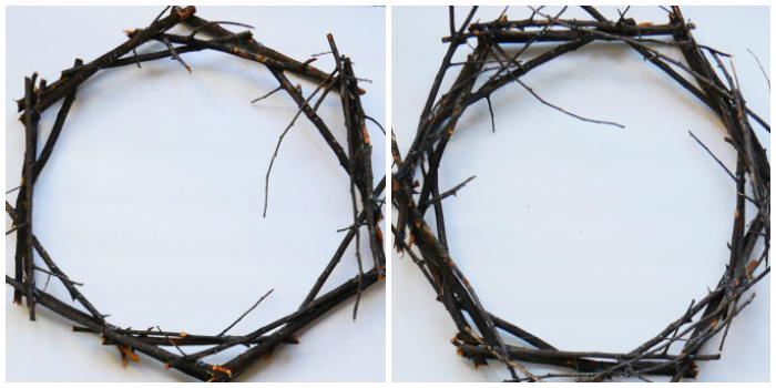 DIY Black Twig Wreath building