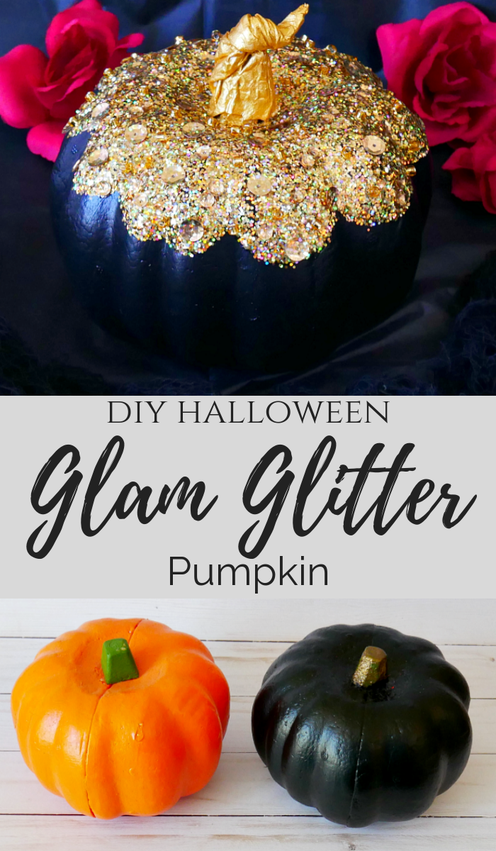 DIY Halloween Glam Glitter Pumpkin
