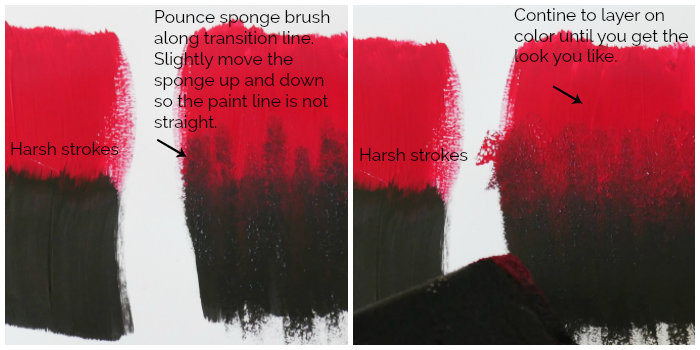 Ombre effect of red and black