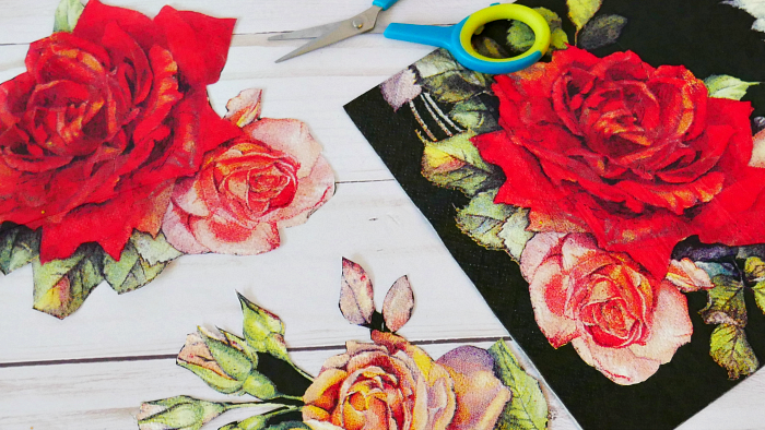 black rose napkins for decoupage