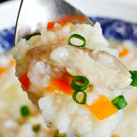 Soft rice and chicken porridge