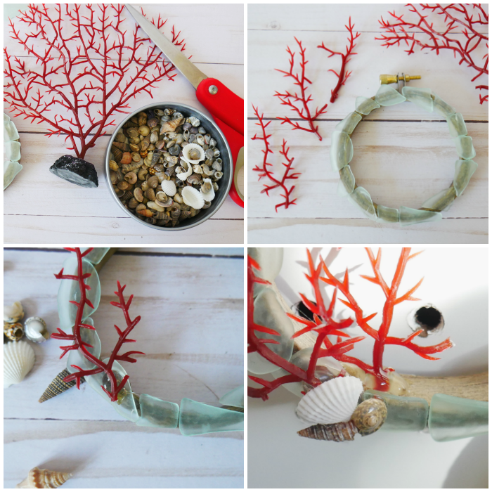 Add coral and shells to the DIY Hoop Coral Beach Ornament