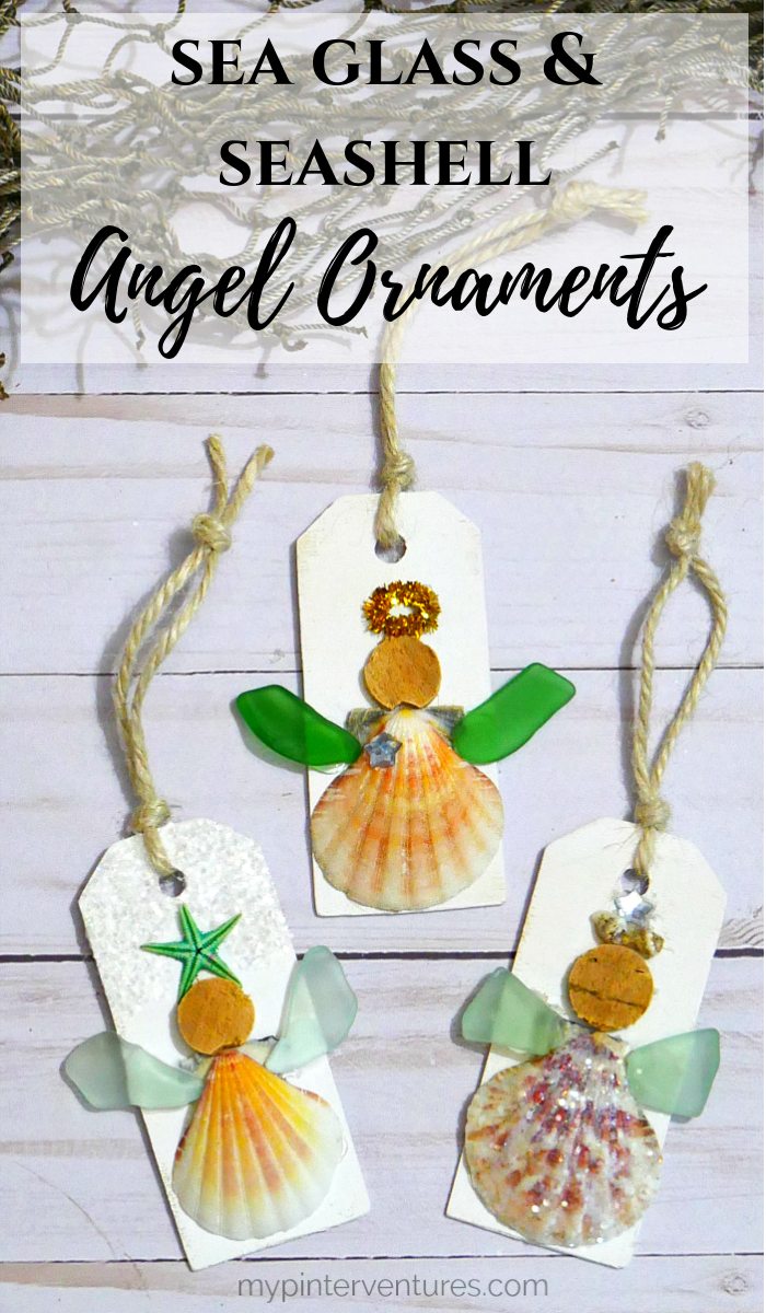 Sea Glass and Seashell Angel Ornament