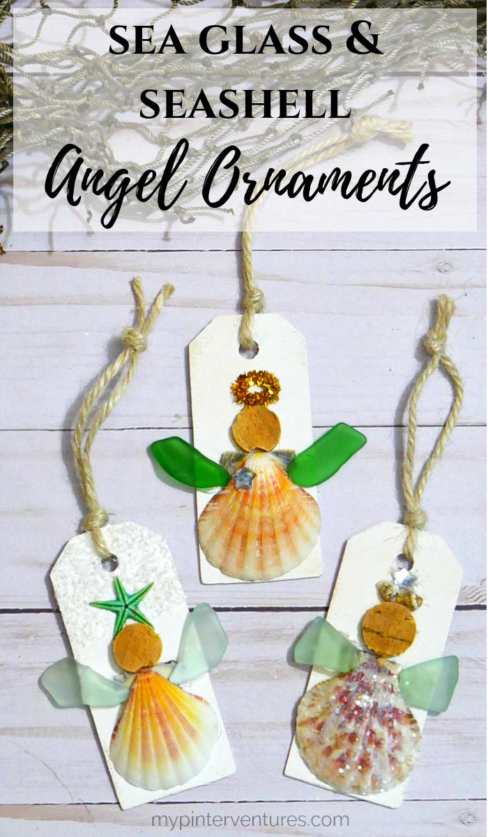 Sea Glass and Seashell Angel Ornament