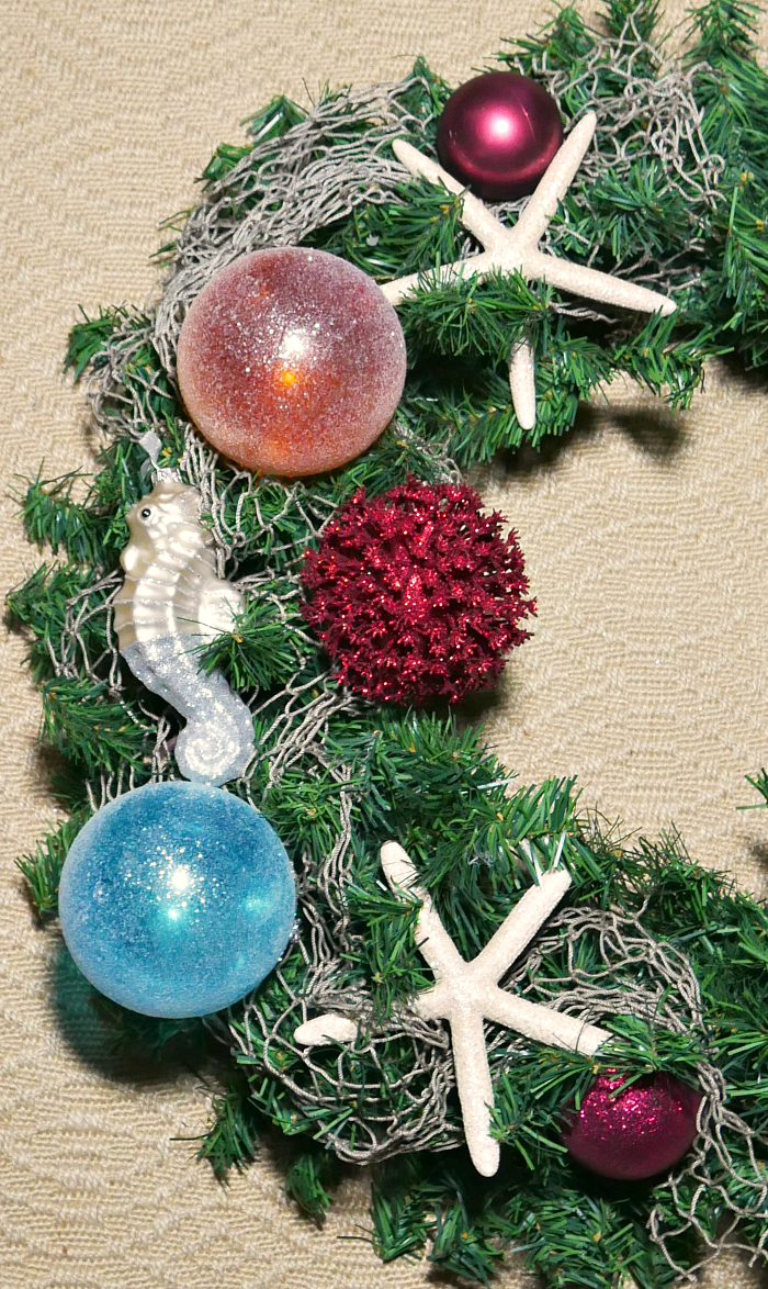 Gluing down items on the Coastal Ocean Christmas Wreath