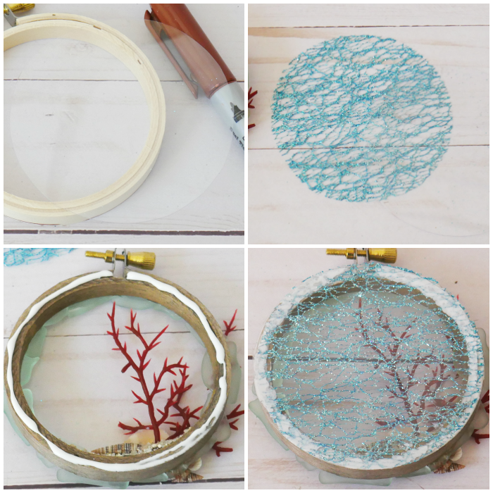 Adding the backing to the DIY Hoop Coral Beach Ornament