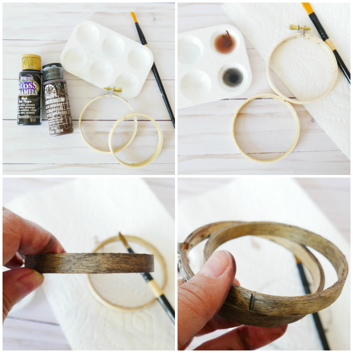 Painting the embroidery hoops