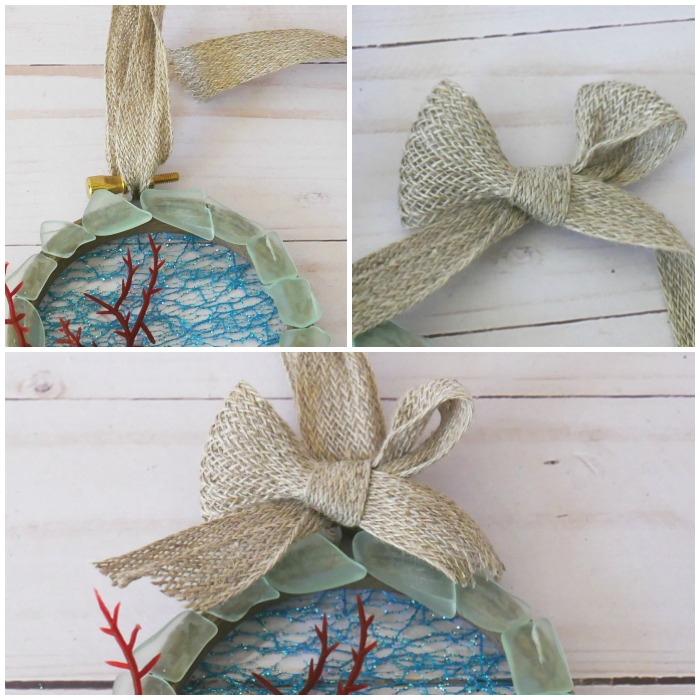Add ribbon to the DIY Hoop Coral Beach Ornaments