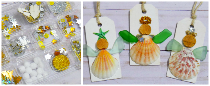 Embellishing sea glass and seashell angel ornaments