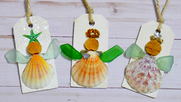 Glittered sea glass and seashell angel ornaments